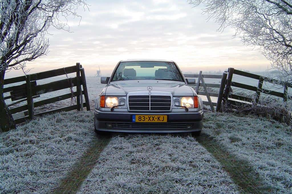 "A pre-1994 Euro-spec 500E with the European headlights and the big classic traditional Mercedes-Benz grill. 1992 and 1993 U.S. versions had slightly different headlights than their European brethren. European spec cars can be identified by their flush glass ""European style"" headlamps and accompanying big headlight wiper blades."