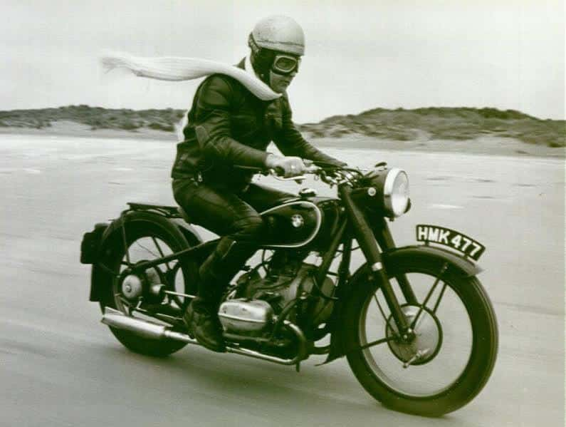 Henry Martin riding my 1937 R5 in England over 30 years ago.