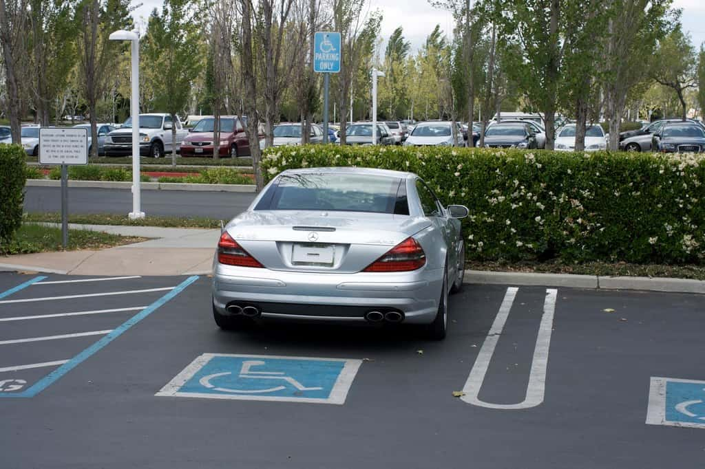 Steve Jobs's Mercedes SL 55 AMG. The car is a rabid wolf dressed as a sheep. He famously did not have a license plate and often parked in handicapped spaces.