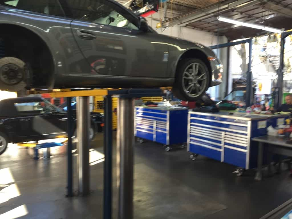 911 on a lift getting serviced