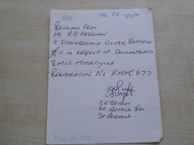 Sale Receipt Jan 1968