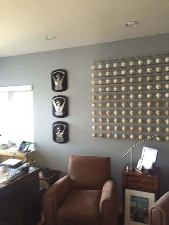 Tom's Cy Young awards in his office