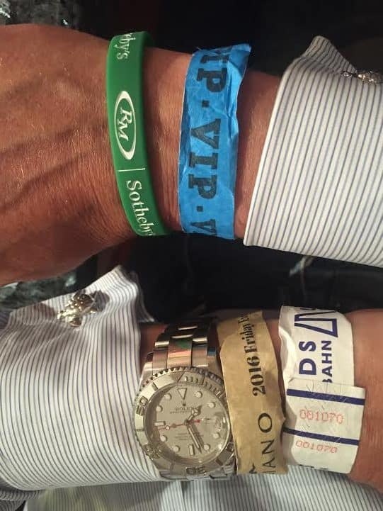 Just one day of armbands is proof of the endless number of activities during Monterey Car Week