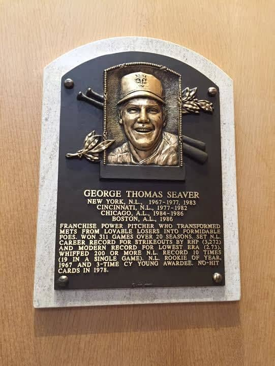 Tom's Hall of Fame plaque at Cooperstown NY