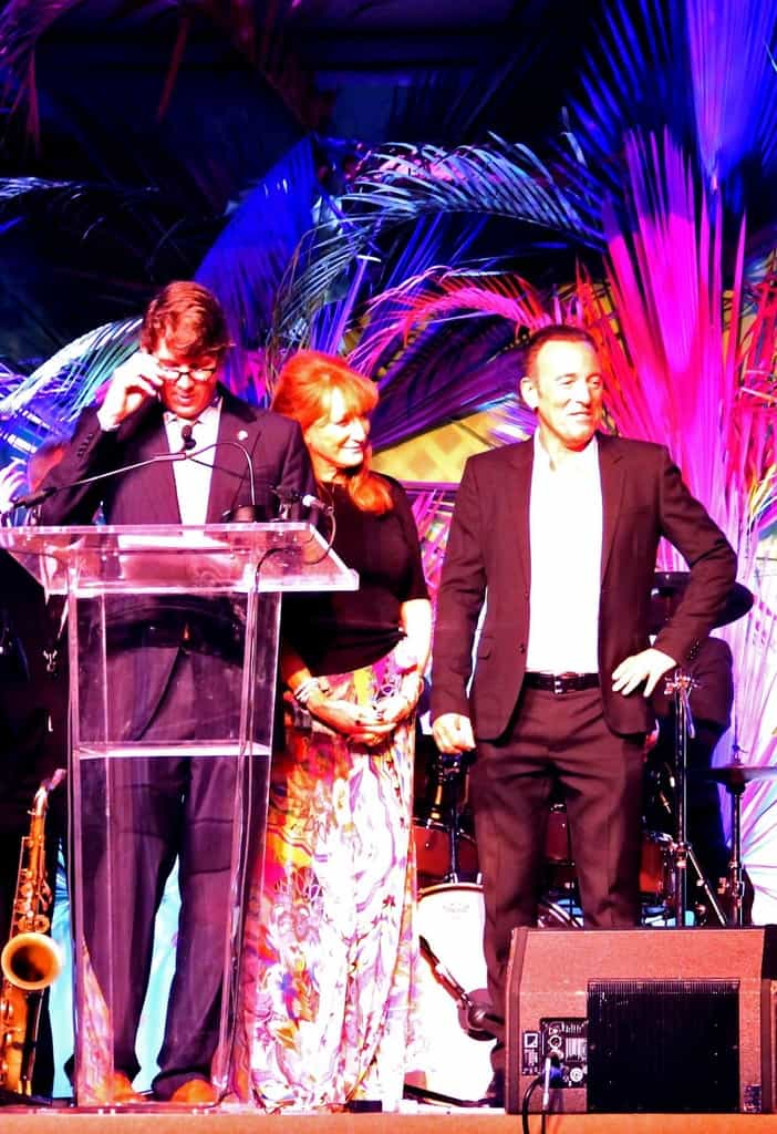 On stage with Bruce Springsteen and Patti Scalfa at the USET Foundation Rockin Rio benefit, Wellington Florida 2016