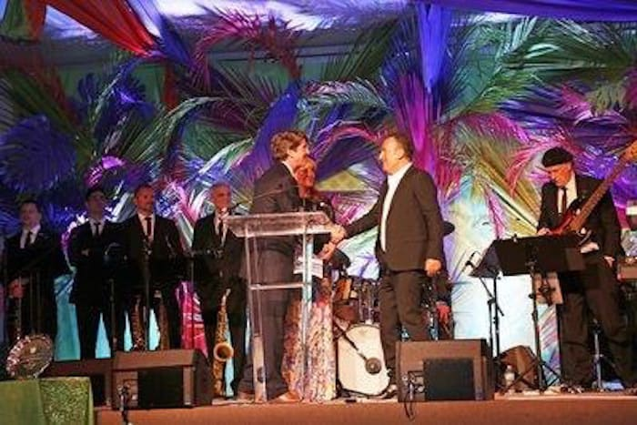 With Bruce on stage at the USET Rockin Rio Gala Wellington Florida 2016. I was the Master of Ceremonies and Bruce and Patti were Co-Charis of the event.